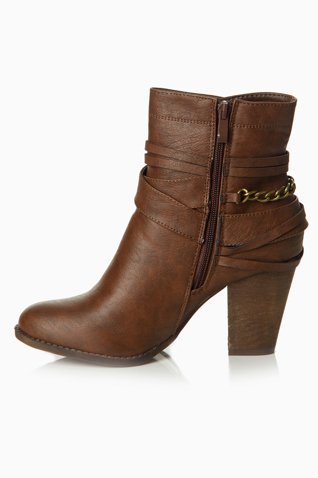 Brown Layered Embellished Ankle Boot