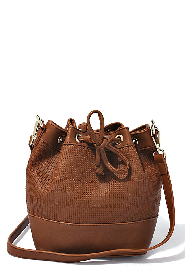 Tan Textured Leather Bucket Bag