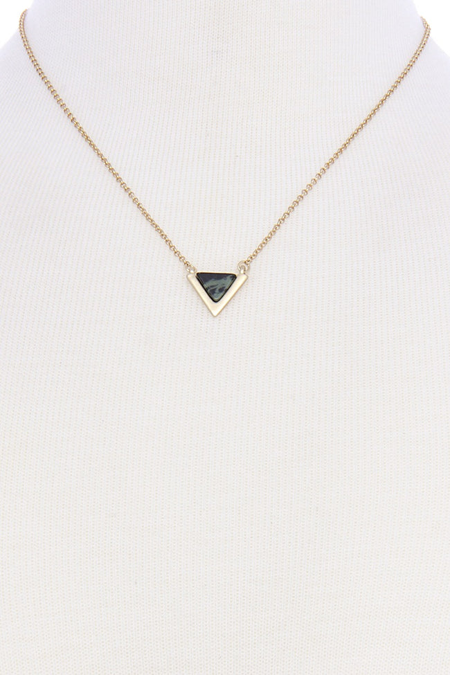 Olive Triangle Stone Pendant Necklace