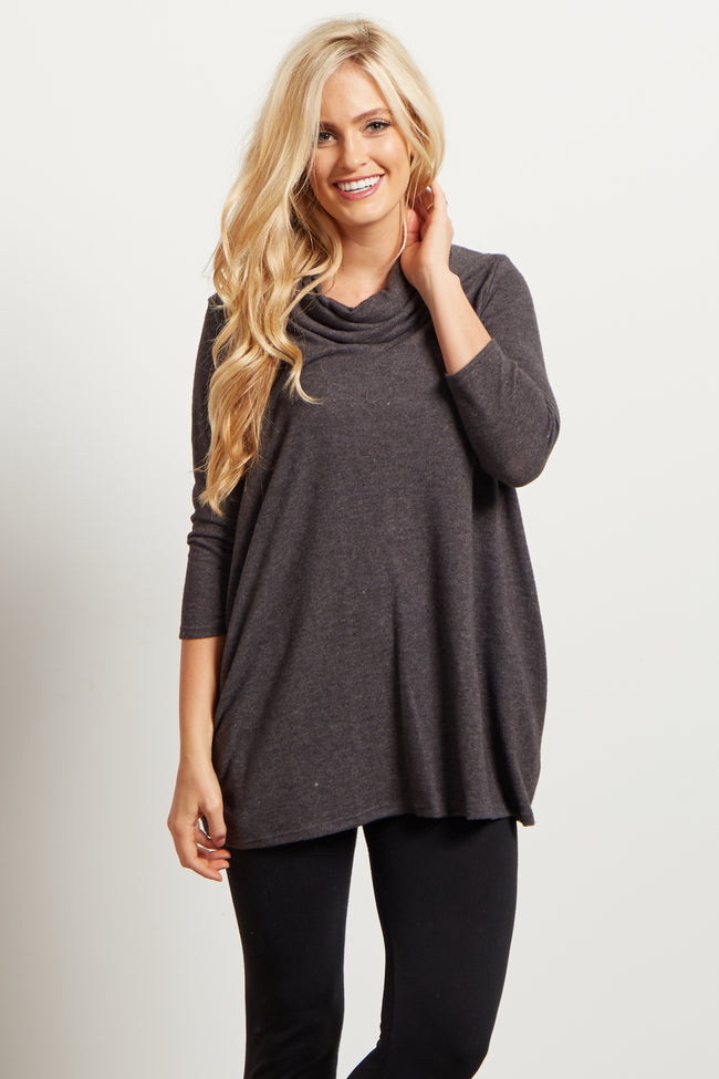 Charcoal Pocket Front Cowl Neck Knit Top