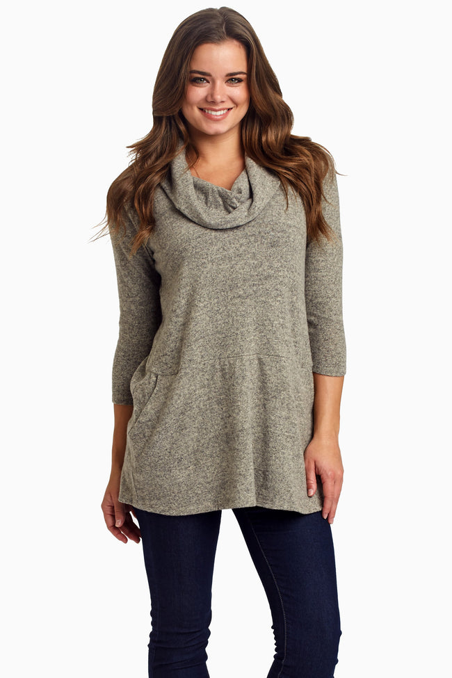 Taupe Pocket Front Cowl Neck Knit Top