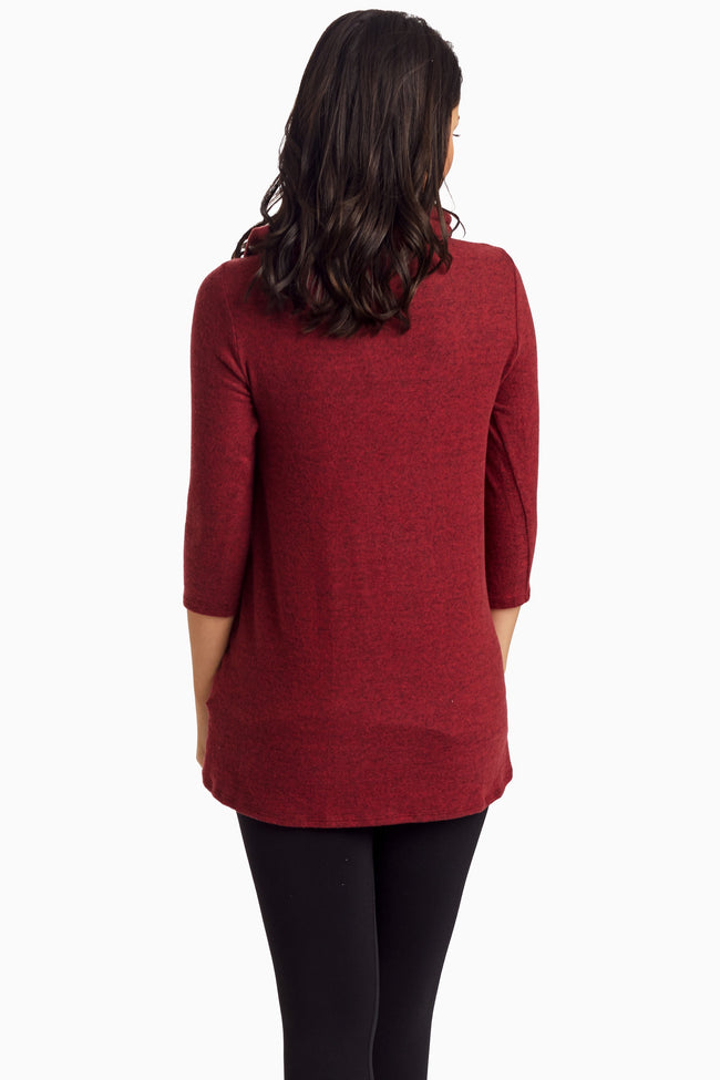 Burgundy Pocket Front Cowl Neck Knit Maternity Top