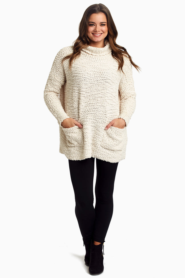 Ivory Pocket Front Turtleneck Knit Maternity Top