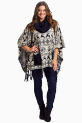 Navy Printed Cowl Neck Maternity Poncho