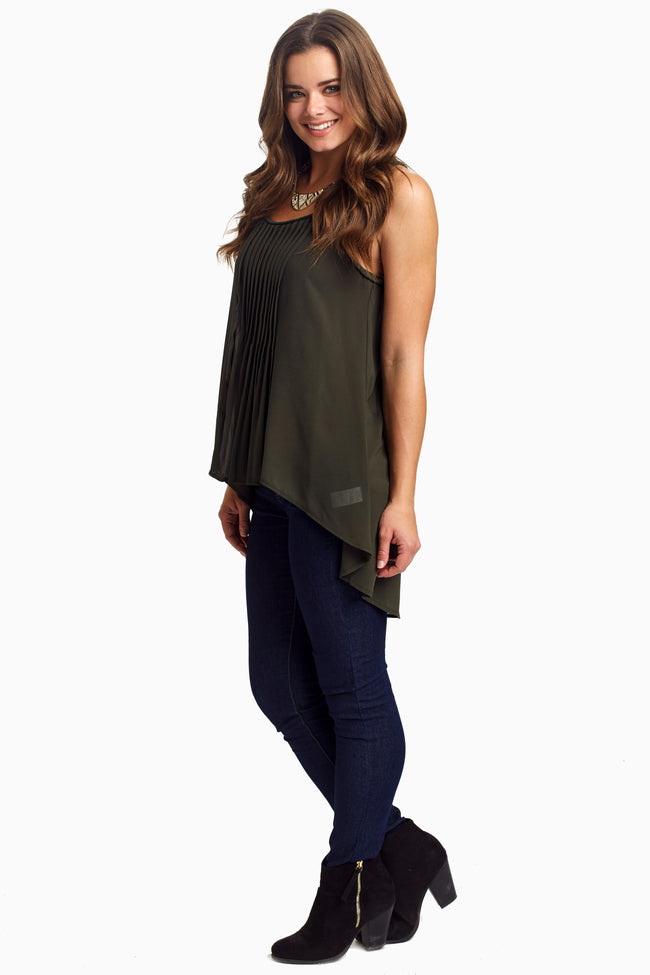 Olive Braided Strap Lace Back Chiffon Tank Top
