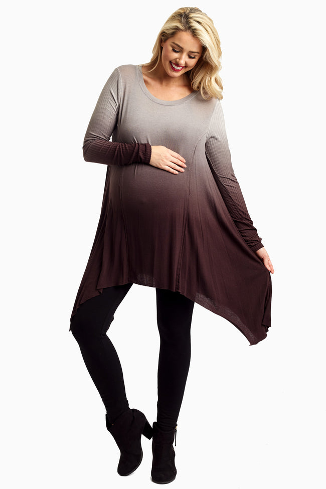 Grey Brown Ombre Asymmetric Maternity Tunic