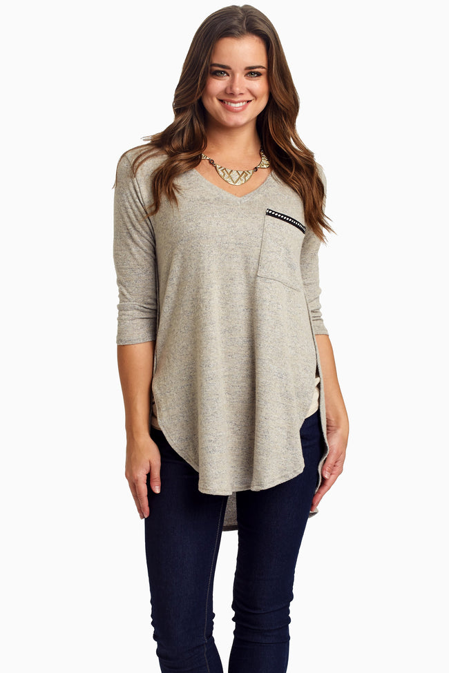 Grey Polka Dot Accent Knit Maternity Top