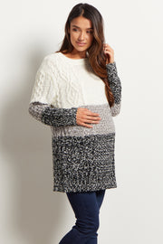 Ivory Grey Colorblock Knit Maternity Sweater