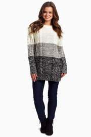 Ivory Grey Colorblock Knit Sweater