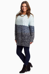 Light Blue Colorblock Knit Maternity Sweater