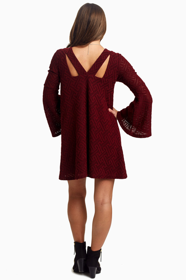 Burgundy Textured Bell Sleeve Dress/Tunic
