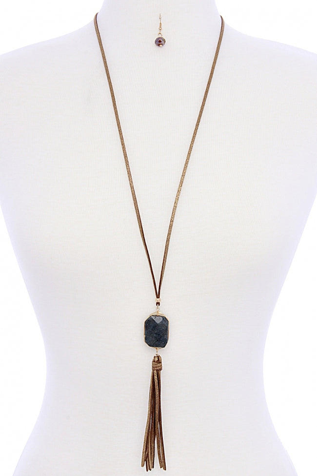 Navy Faux Suede Tasseled Stone Necklace/Earring Set