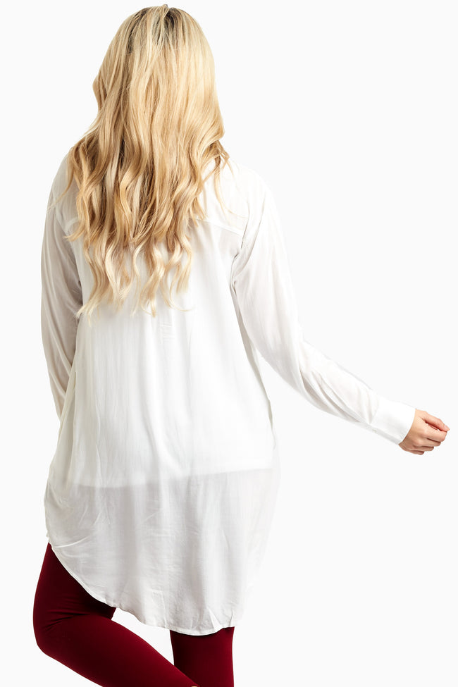 White Button Up Maternity Tunic