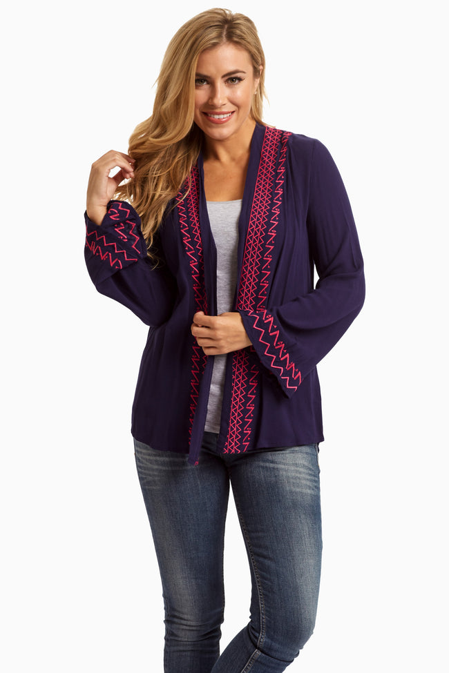 Navy Fuchsia Tribal Trim Cardigan