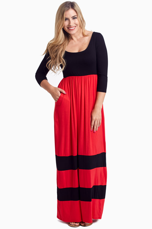 Black Striped Colorblock Maternity Maxi Dress