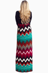 Multi-Color Chevron Bottom Maternity Maxi Dress