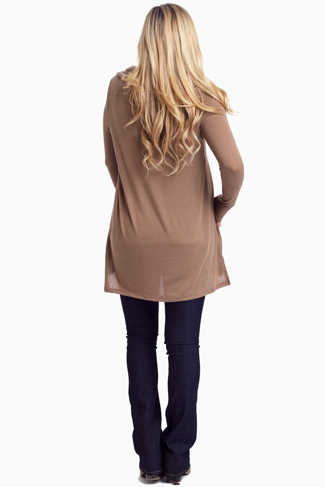 Mocha Button Collar Knit Tunic