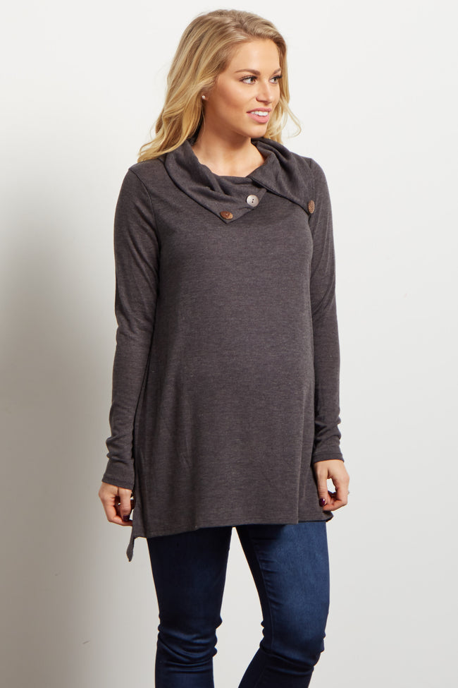 Charcoal Button Collar Knit Maternity Tunic