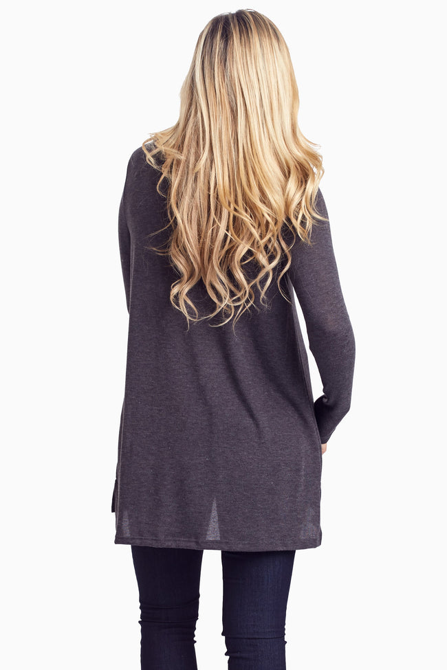 Charcoal Button Collar Knit Tunic