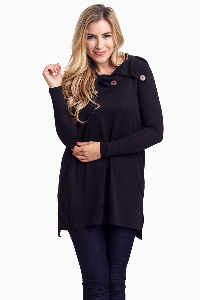 Black Button Collar Knit Maternity Tunic