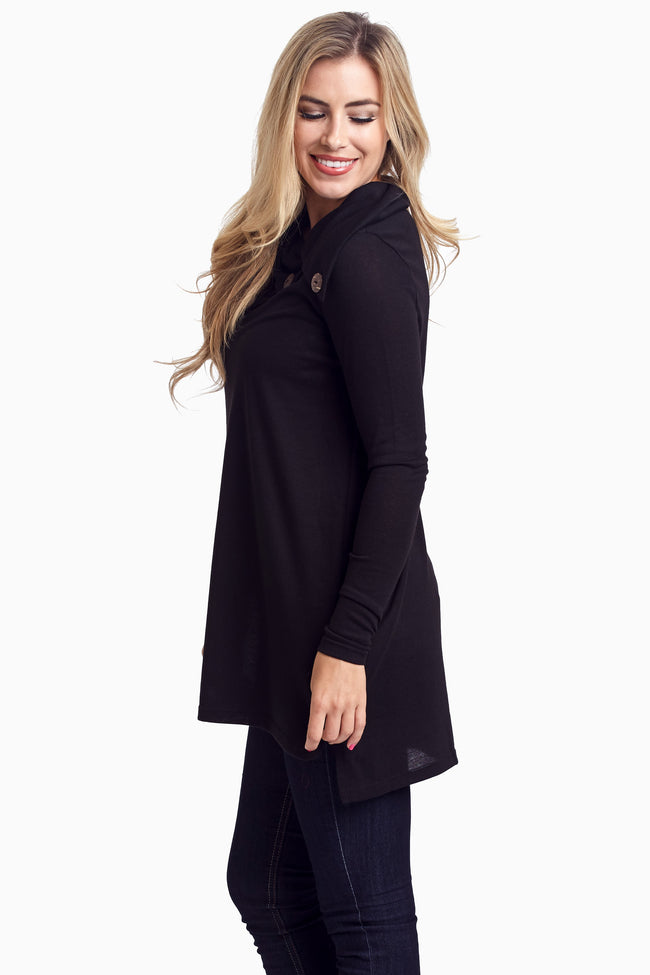 Black Button Collar Knit Tunic