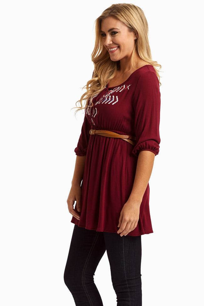 Burgundy Printed Tie Front Belted Top