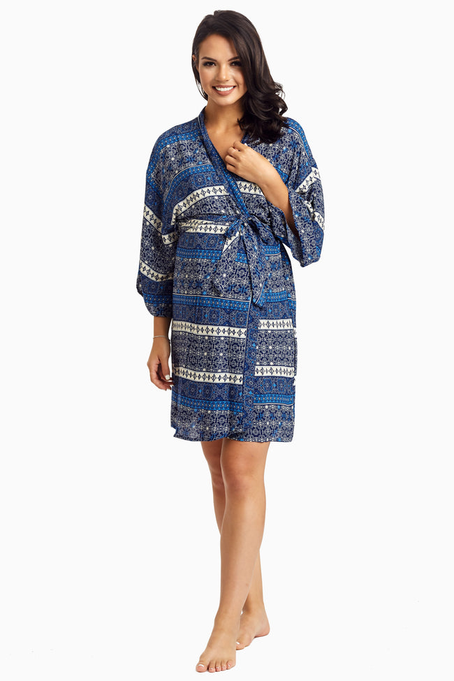 Blue Bohemian Delivery/Nursing Maternity Robe
