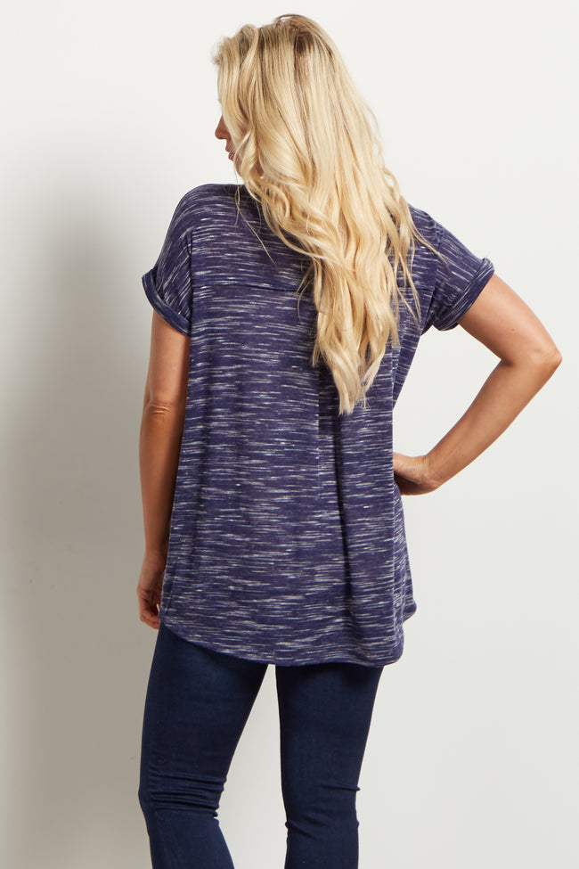 Navy Heathered Cuffed Sleeve Maternity Top