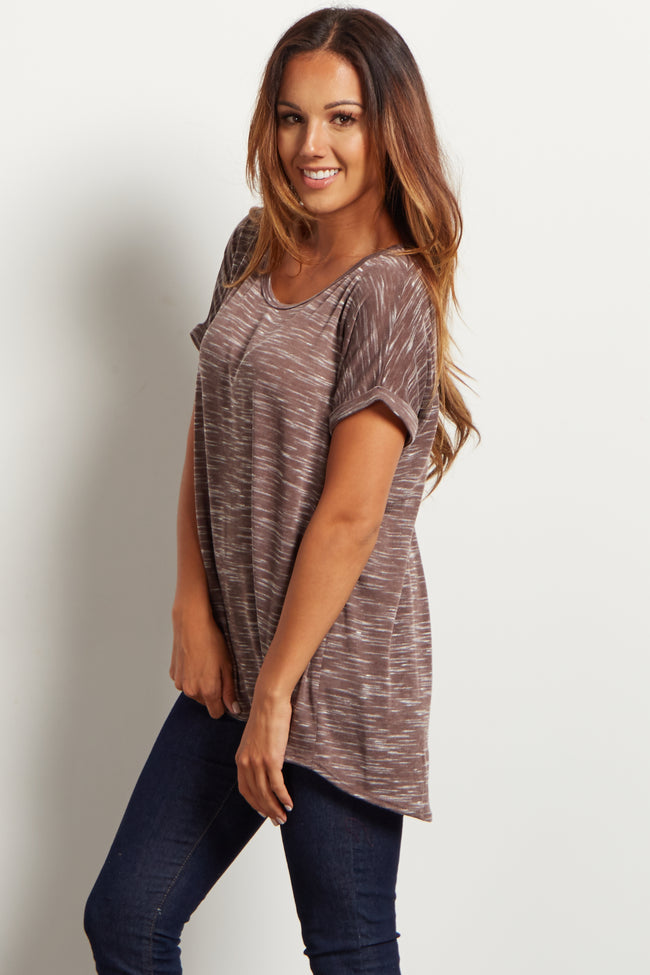 Brown Heathered Cuffed Sleeve Top