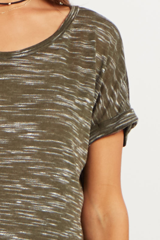 Olive Heathered Cuffed Sleeve Maternity Top
