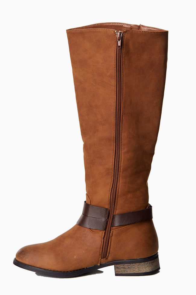 Tan Zip Side Strapped Boot