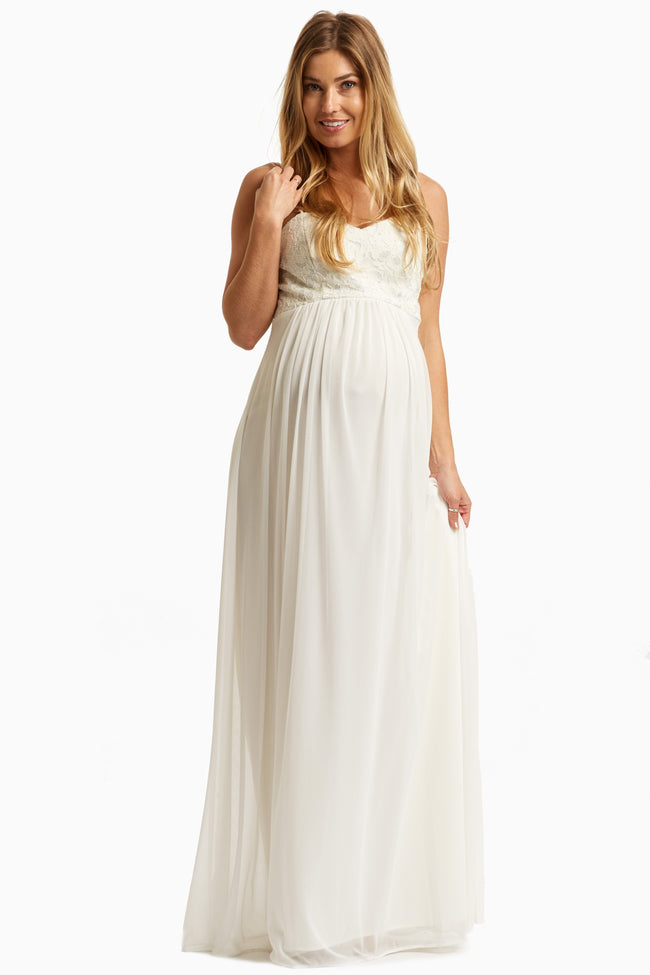 Ivory Lace Top Chiffon Maternity Evening Gown