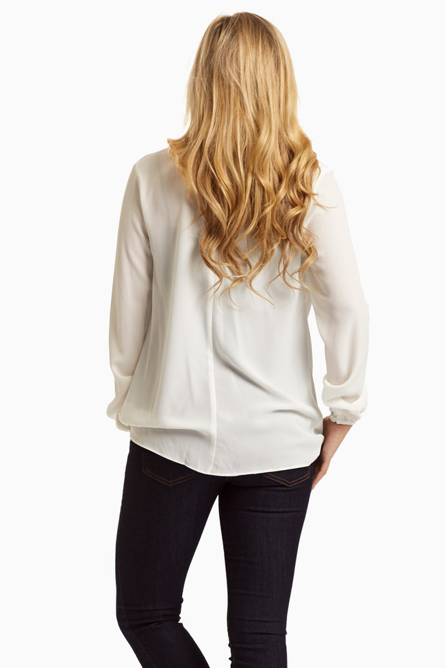 White Draped Front Chiffon Blouse