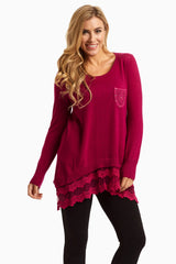 Magenta Lace Trim Accent Knit Maternity Sweater