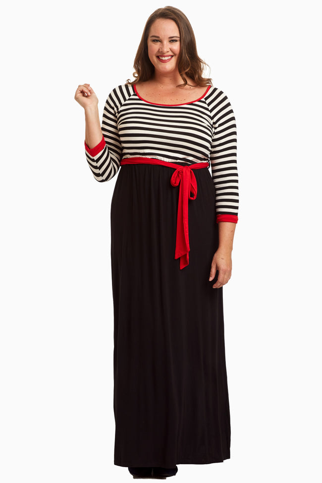 White Striped Top Sash Tie Plus Size Maternity Maxi Dress