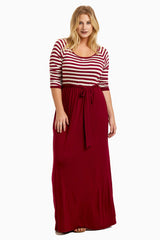 Burgundy Striped Top Sash Tie Plus Size Maternity Maxi Dress