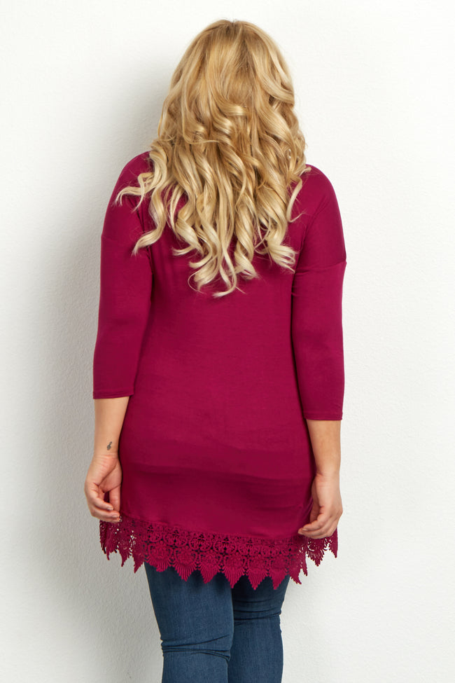 Magenta Crochet Hem 3/4 Sleeve Plus Size Maternity Top