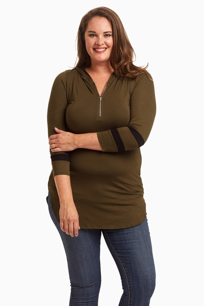 Olive Zip Front Hooded Plus Size Maternity Top