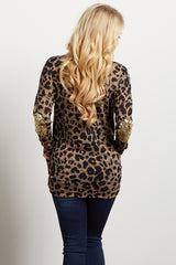 Mocha Leopard Sequin Elbow Knit Maternity Top