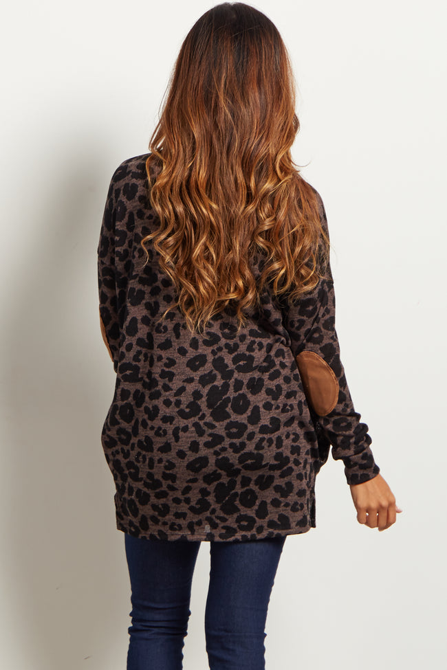 Brown Leopard Suede Elbow Knit Top