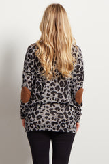 Grey Leopard Suede Elbow Knit Maternity Top