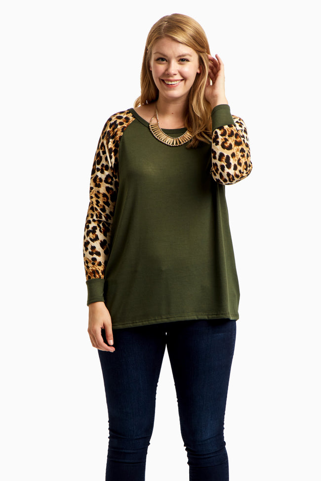 Olive Animal Sleeve Plus Size Top