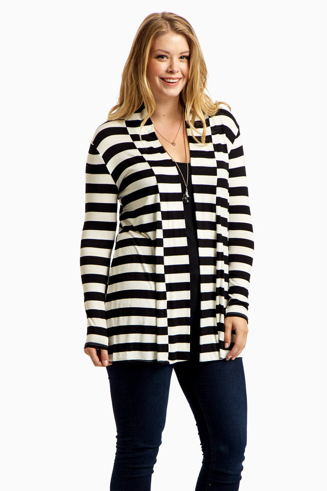 Black Striped Elbow Patch Plus Size Cardigan