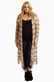 Pink Brown Striped Fringed Long Plus Size Maternity Cardigan