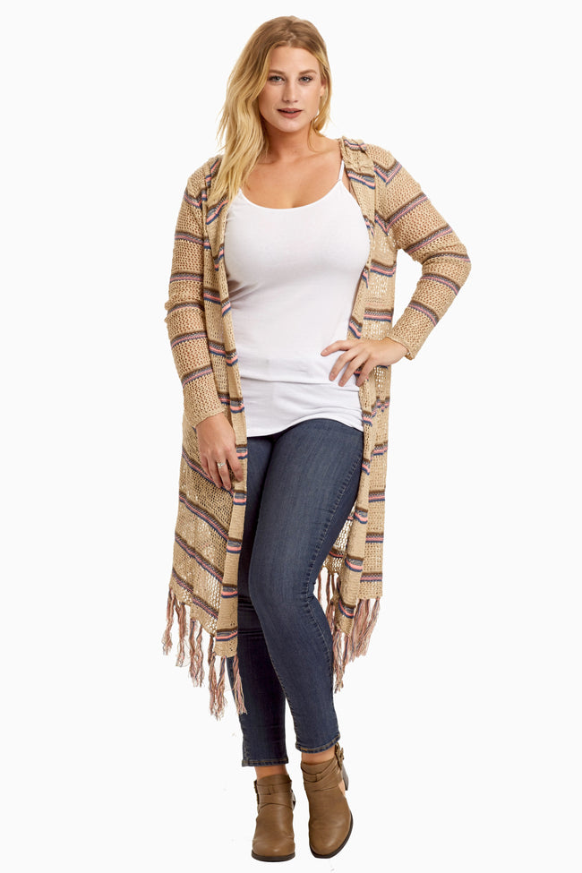 Pink Brown Striped Fringed Long Plus Cardigan