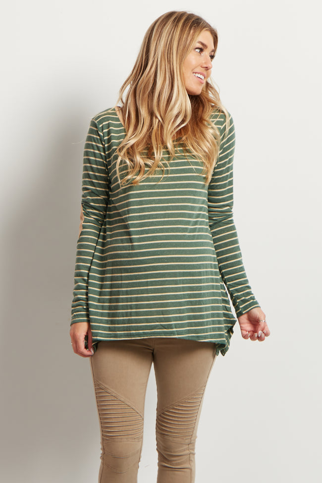 Green Striped Elbow Patch Maternity Top