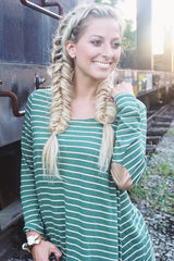 Green Striped Elbow Patch Top