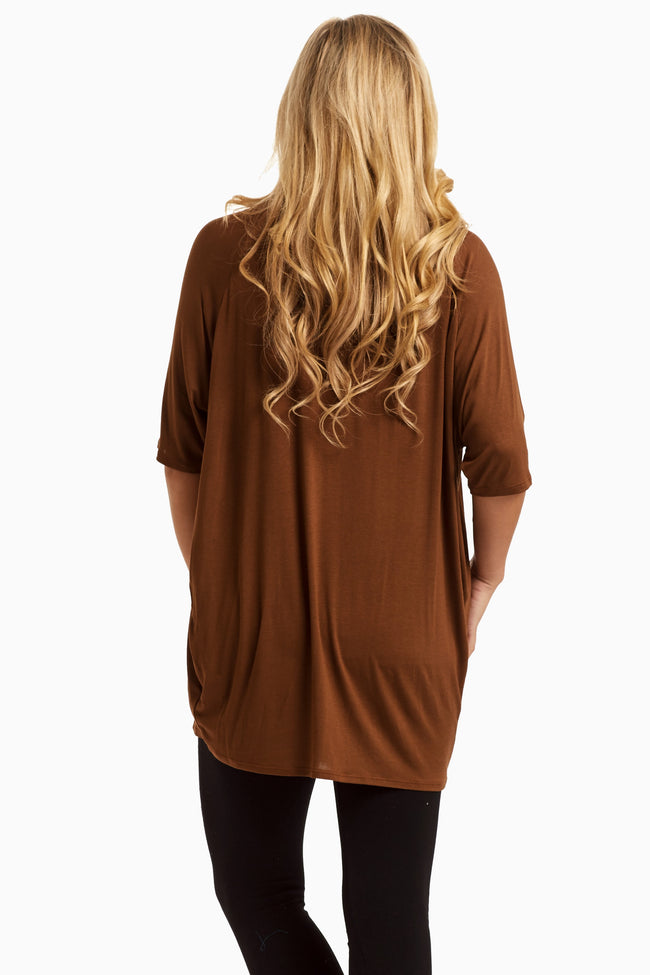 Brown Braided Neckline Top