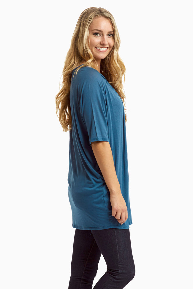 Teal Braided Neckline Top
