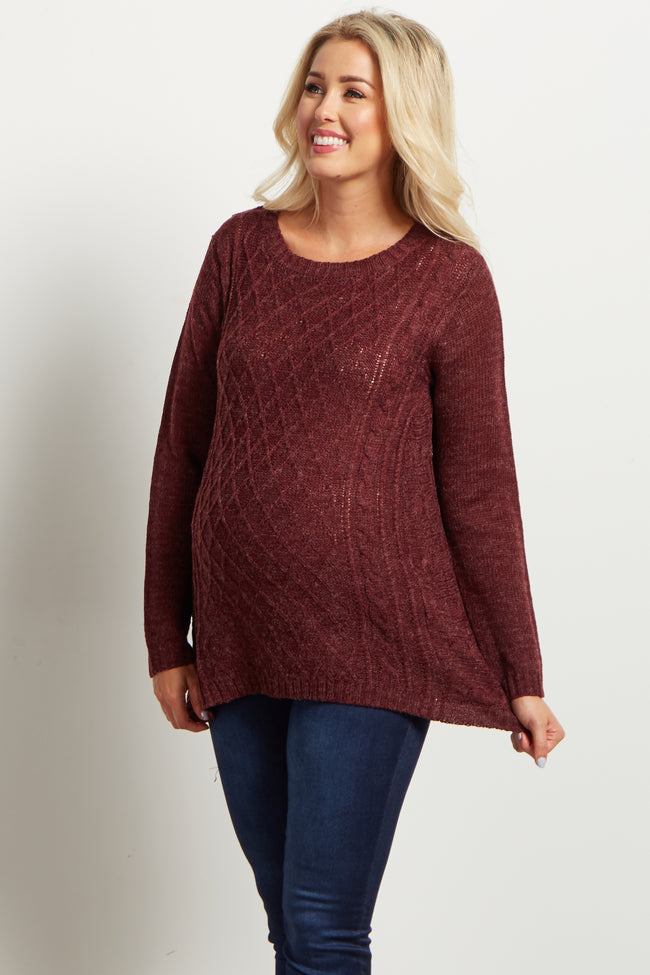 Burgundy Diamond Knit Maternity Sweater